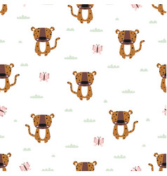 seamless pattern with cute leopard baanimals vector image