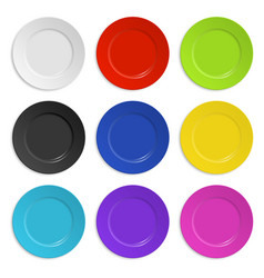 Set of colored plates isolated on white vector