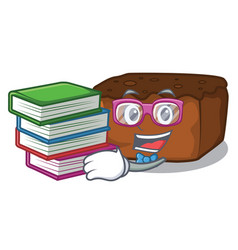 Student with book brownies mascot cartoon style vector
