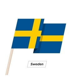 Sweden Ribbon Waving Flag Isolated on White vector image