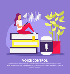 Voice control flat poster vector