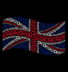 waving uk flag pattern of gears icons vector image