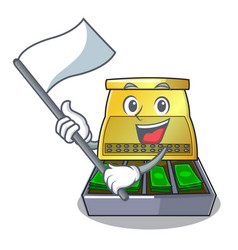 With flag cartoon cash register with a money vector
