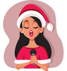 woman wearing santa hat singing christmas song vector image