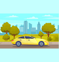 yellow car drive on road against tall buildings vector image