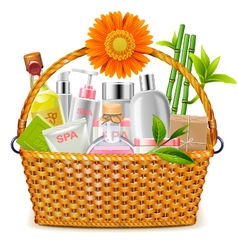 Basket with SPA Cosmetics vector image