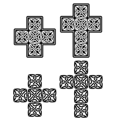 Celtic cross - set of traditional designs in black vector image vector image