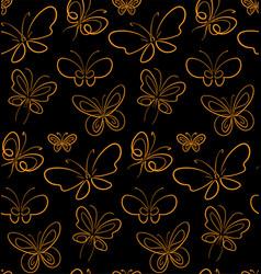 Butterfly set pattern gold on black simbols vector