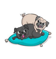 cute pugs hand drawn cartoon vector image vector image