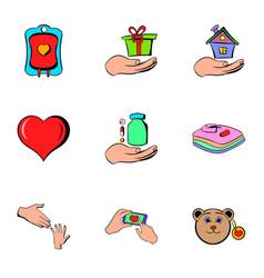 humanitarian icons set cartoon style vector image