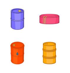 oil barrel icon set cartoon style vector image