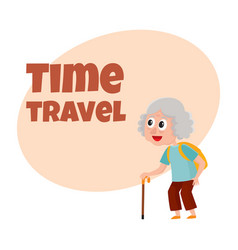 Old senior woman tourist with backpack and stick vector