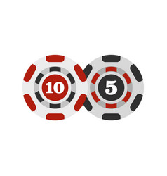 poker chips nominal five and ten icon flat style vector image