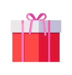 Red Gift Box with Pink Ribbon vector image vector image