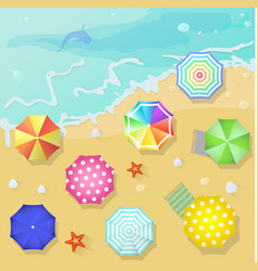 Summer beach in flat design style Shell and towel vector image vector image