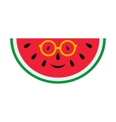 Cheerful cartoon watermelon in glasses vector image vector image