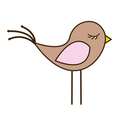 color silhouette with cute bird vector image