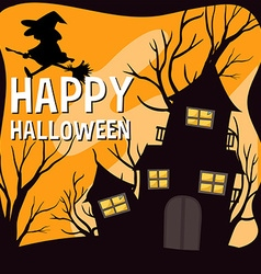 Halloween theme with witch and haunted house vector image