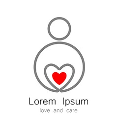 logo template love care vector image vector image