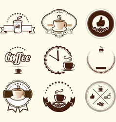 Set of vintage coffee badges and labels vector image