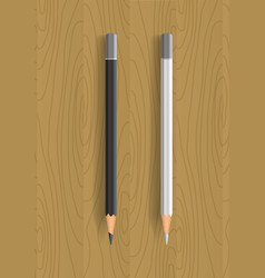 two realistic pencils on wooden table vector image