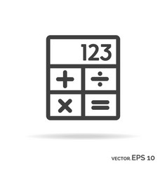 calculator outline icon black color vector image