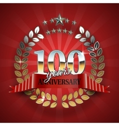 Celebrative Golden Badge for 100th Anniversary vector image vector image