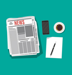 newspaper smartphone paper blank with pen vector image