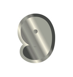 number 9 steel metal font nine silver alphabet vector image