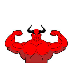 strong demon with horns powerful red devil satan vector image
