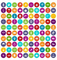 100 car icons set color vector