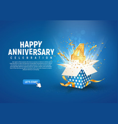 4 th year anniversary banner with open burst gift vector