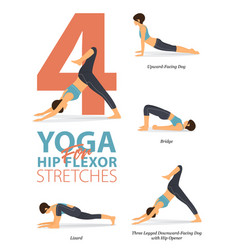 4 yoga poses for workout in hip stretches concept vector