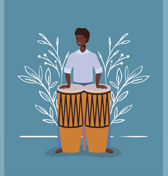 Afro woman playing bongos character vector