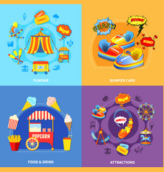 Amusement park 4 flat icons square vector