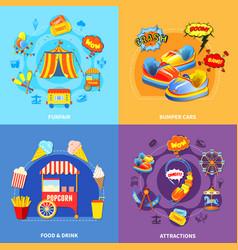 Amusement park 4 flat icons square vector