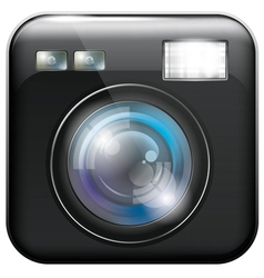 App icon with camera lens and flash light f vector