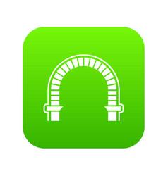 Arch column icon green vector