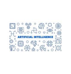 Artificial intelligence blue linear vector