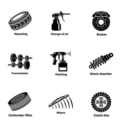 Auto worker icons set simple style vector