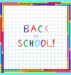 back to school hand writing inscription on vector image