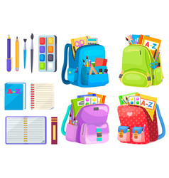 Backpack with notebook and pen school vector