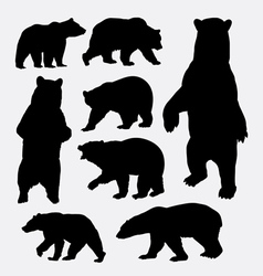 Bear wild animal silhouettes vector