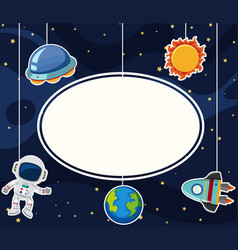 Border template with astronaut in space vector