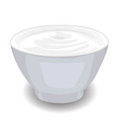 Bowl of sour cream isolated vector