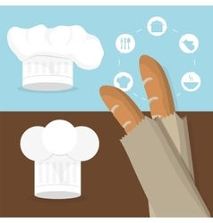 Breakfast baguettes hat chef tasty flyer vector