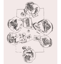 Business Team Meeting Concept Top View Sketch vector