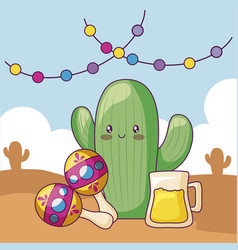 cactus with maracas and beer kawaii character vector image