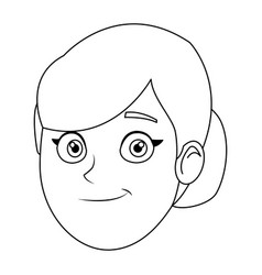 Cartoon profile woman young office staff vector