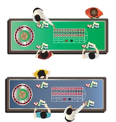 Casino furniture roulette table top view set 1 vector image